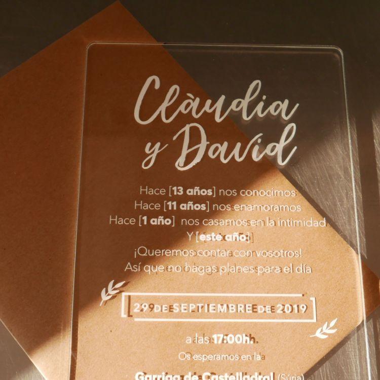 Invitación Metacrilato David y Clàudia