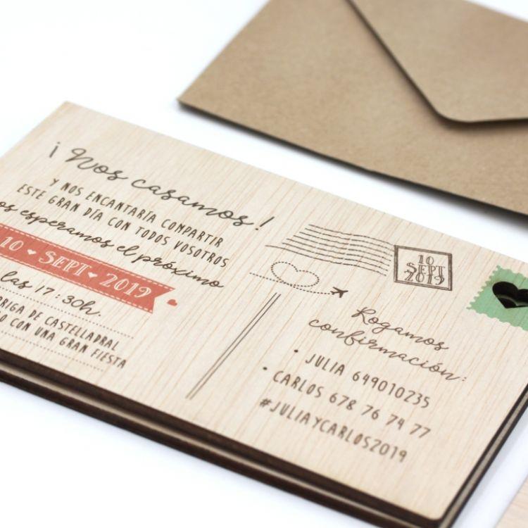 Invitació Model Postal Fusta