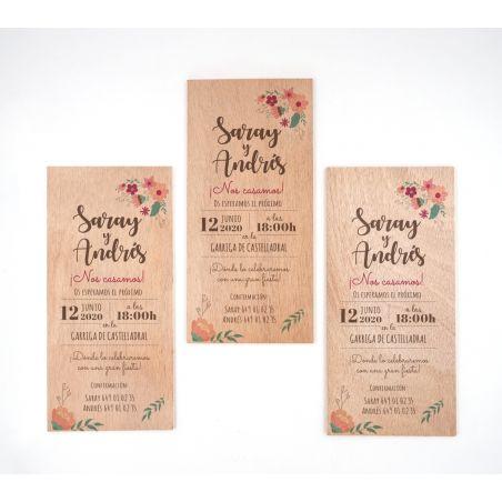Invitación Floral Madera