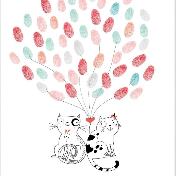 Poster huellas gatos